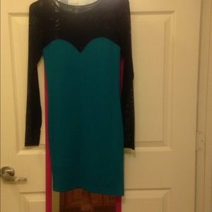 Teal Forever 21 Bodycon Dress w/ Mesh Sleeves